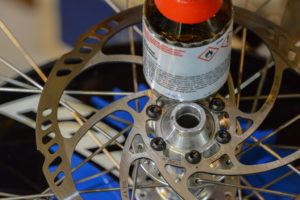 Clean disk brakes with alcohol